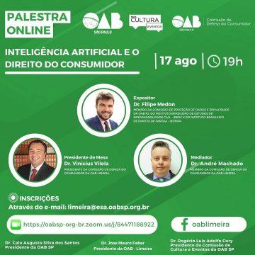 OAB Limeira faz evento on-line sobre Inteligência Artificial e o Direito do Consumidor