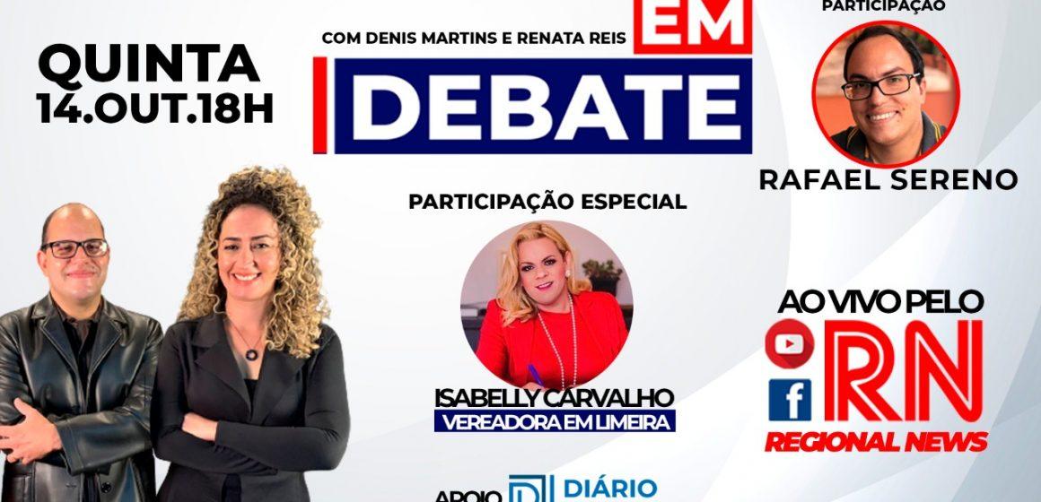 """Programa """"Em Debate"""" entrevista hoje Isabelly Carvalho, vereadora em Limeira"""
