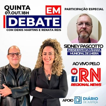 """Programa """"Em Debate"""" entrevista hoje o presidente da Câmara de Limeira"""